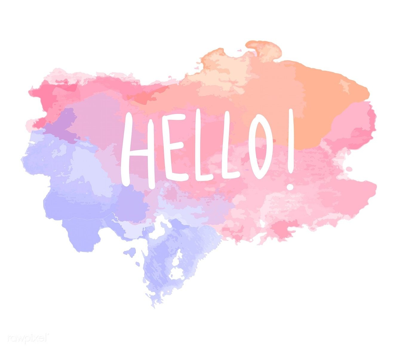 The Word Hello On A Watercolor Vector Free Image By Rawpixel Com