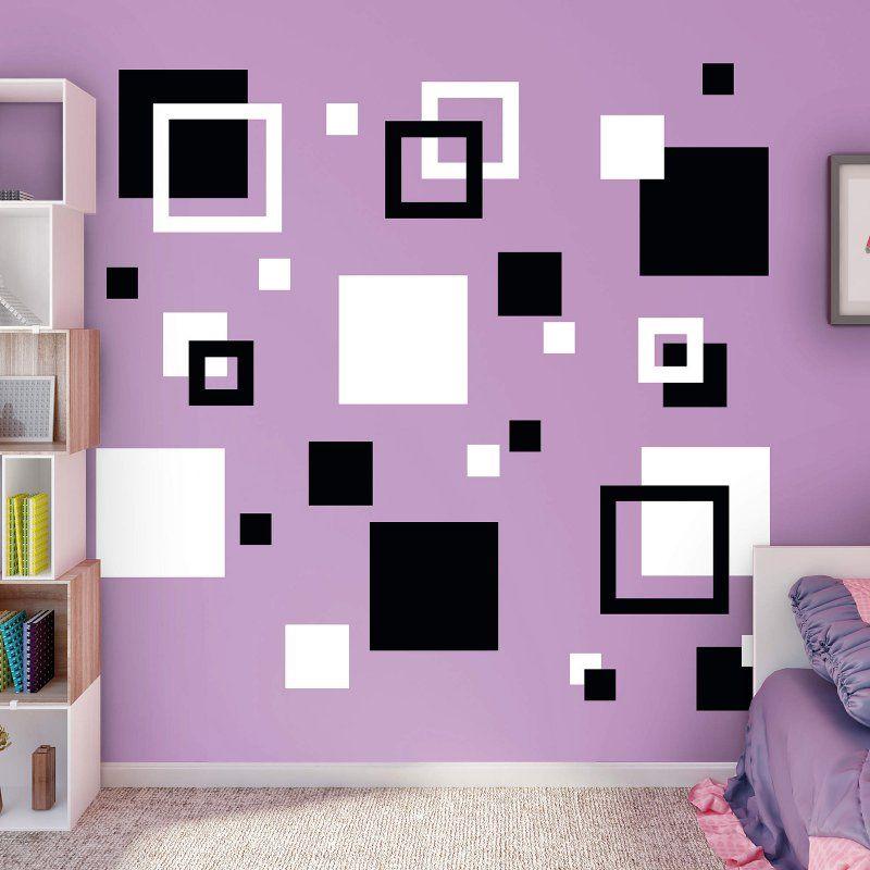 Fathead Squares Wall Decal Black / White