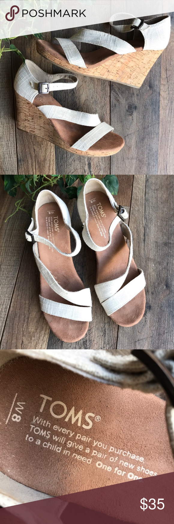 TOMS Wedge Sandals TOMS Wedge Sandals  Size 8 Toms Shoes Wedges #tomwedges