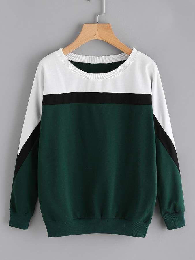 18df63e203 Shein Contrast Panel Sweatshirt | Products in 2019 | Sweatshirts ...