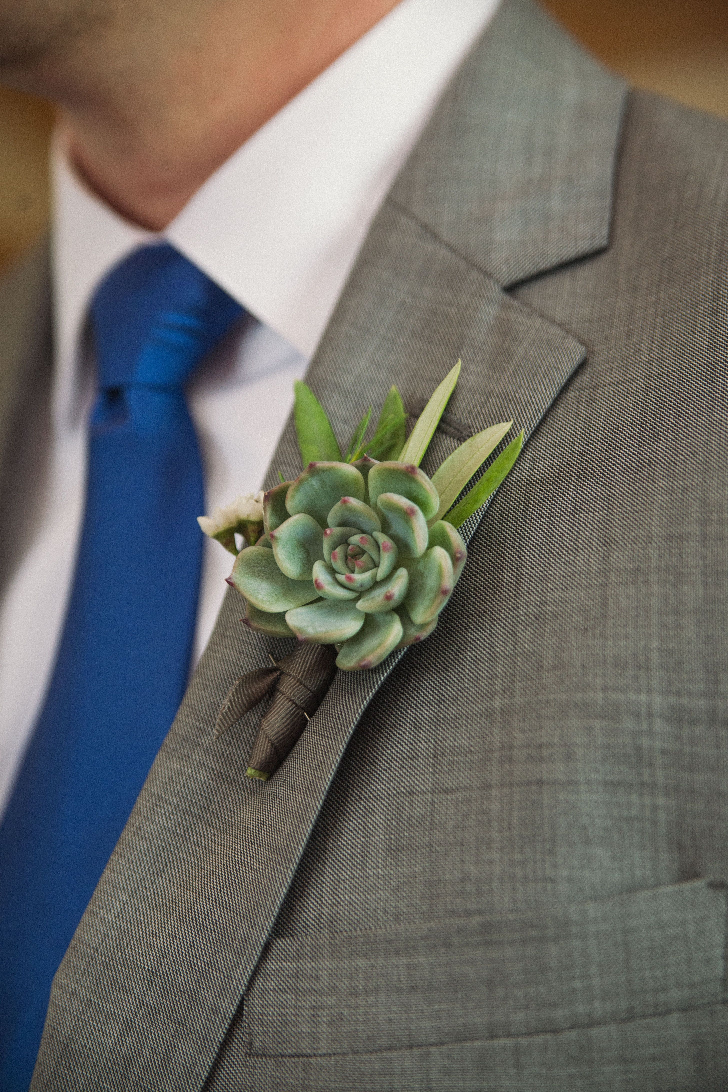 Succulent boutonniere.  Photo by Dot & Anchor Photography, floral by Holly Viles Design.