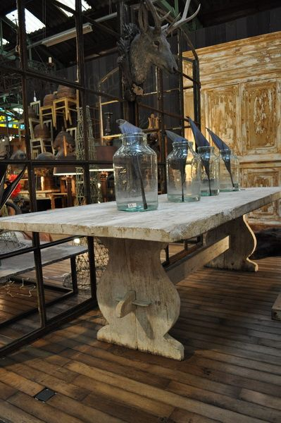 1900 Huge Antique French Solid Oak Trestle Table With Creamy White Patina