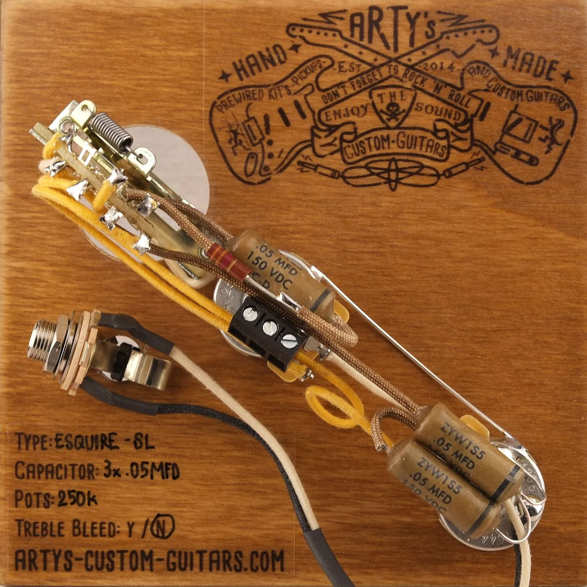 Artys Custom Guitars Solderless Esquire 1950 Vintage Pre Wired Telecaster Wiring Without Capacitor Prewired Kit Assembly Harness Arty