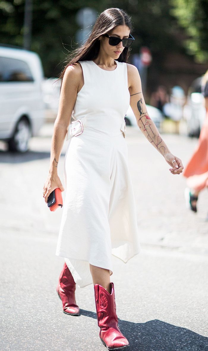 We looked to street style stars for tips on how to make cowboy boots and dresses look cool. Shop our favorite looks.