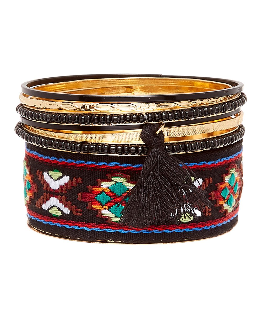Black Geometric Tassel Bracelet Set
