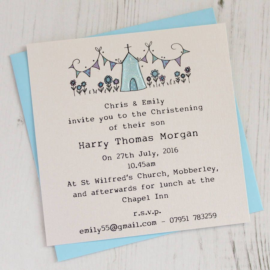 personalised pack of christening invitations christening