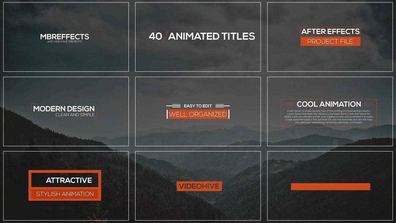 40 Modern Titles Lower Thirds Videohive After Effects Templates