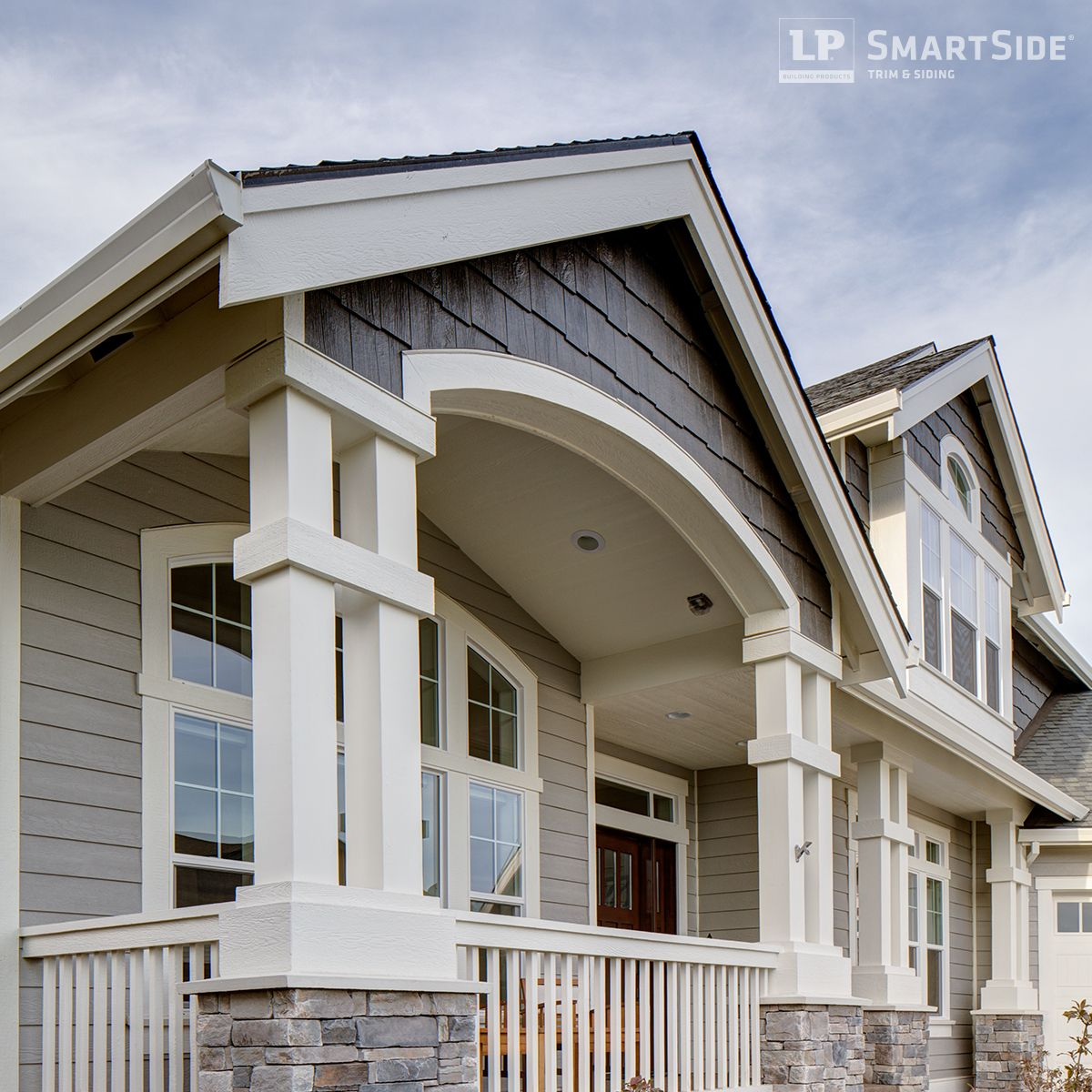 This elegant home features lp smartside trim and fascia as Engineered wood siding colors