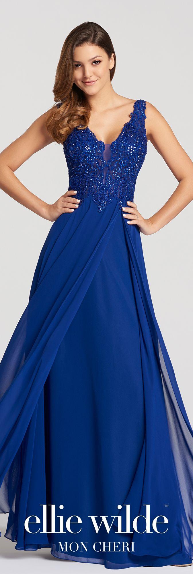 Royal blue lace dress styles  Chiffon u Lace ALine Prom Dress with Plunging VNeckline EW