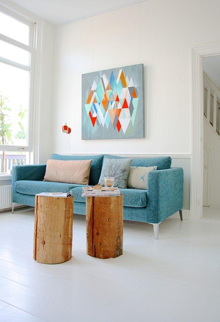 Wanddesign Ideen Wohnideen Wohnzimmer Blaues Sofa Schöne Wanddeko