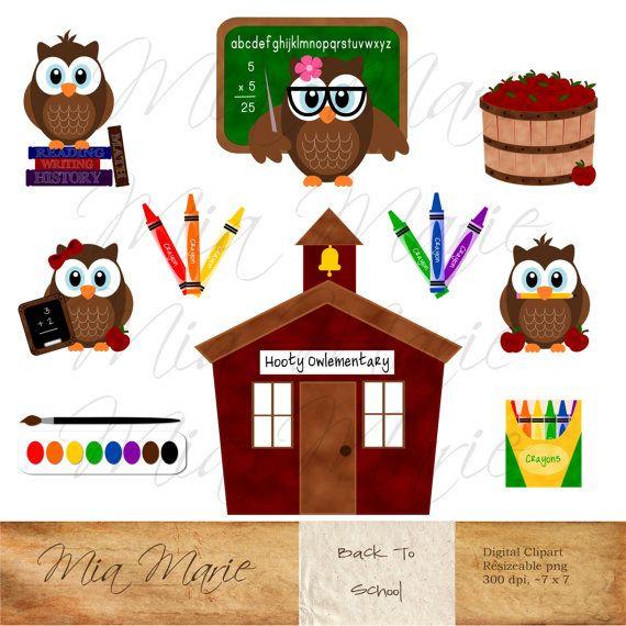 School Owls Apple Books Cute Clip Art - ruler scissors pencil ...
