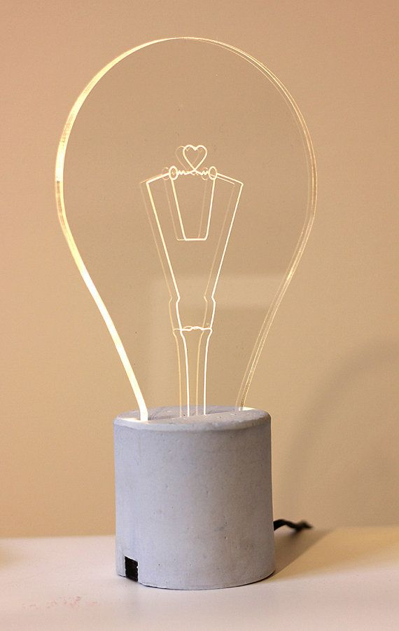 Heart Shaped Exposed Bulb Lamp With Light Blue Concrete