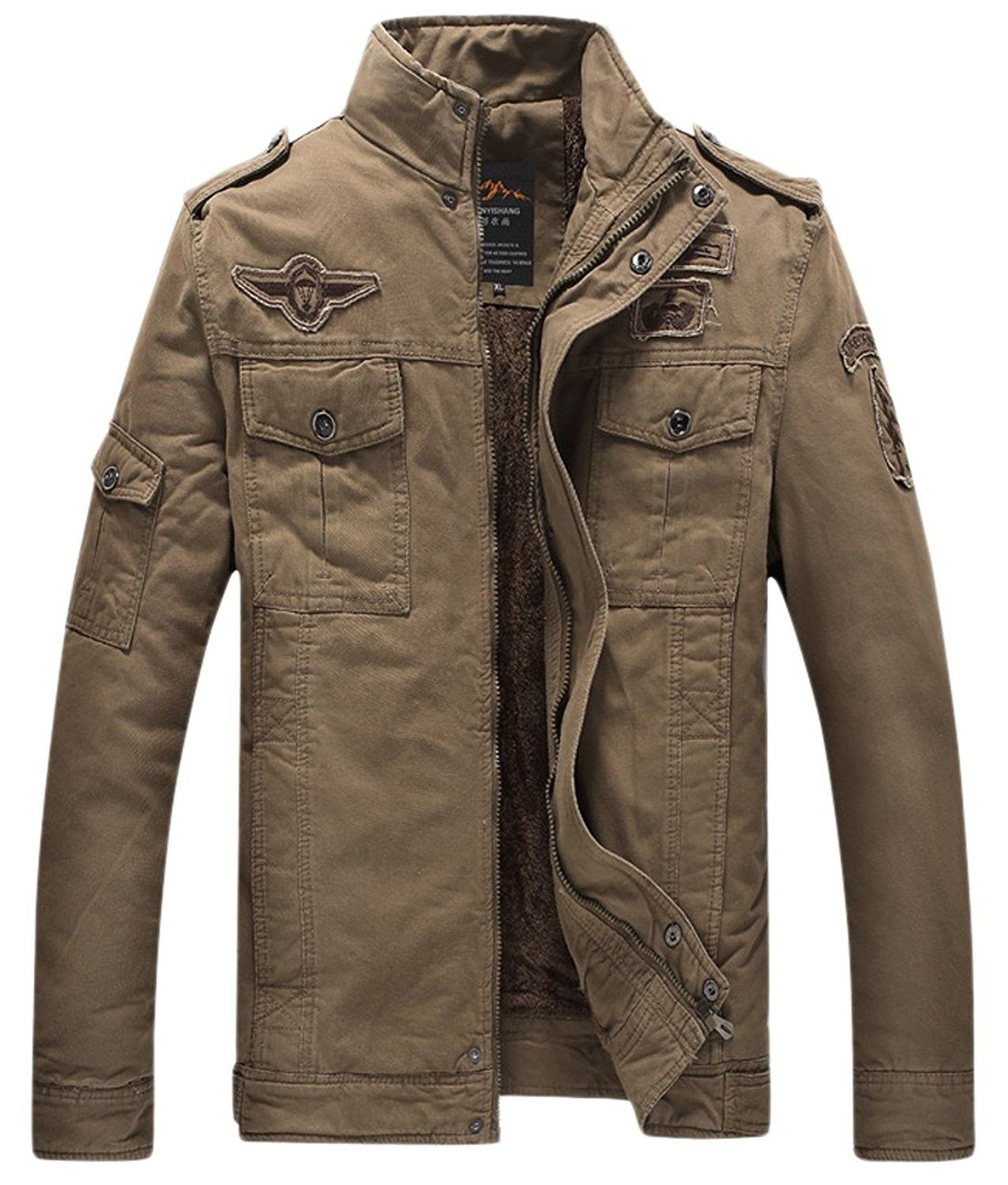 Men S Fashion Military Sherpa Lined Zip Front Insulated Cotton Jacket Khaki Cl12mr6szgh Mens Jackets Casual Mens Military Jacket Military Jacket