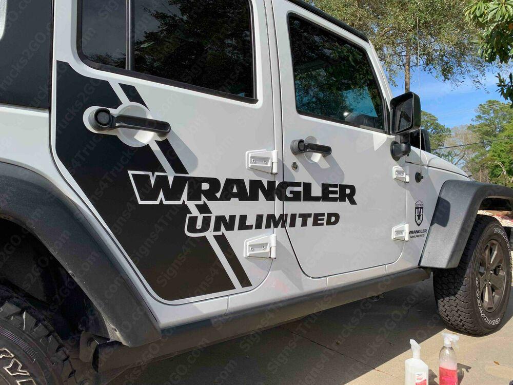 0744 Set Of Decals Jeep Wrangler Rubicon Sahara Jk Jku Side Door