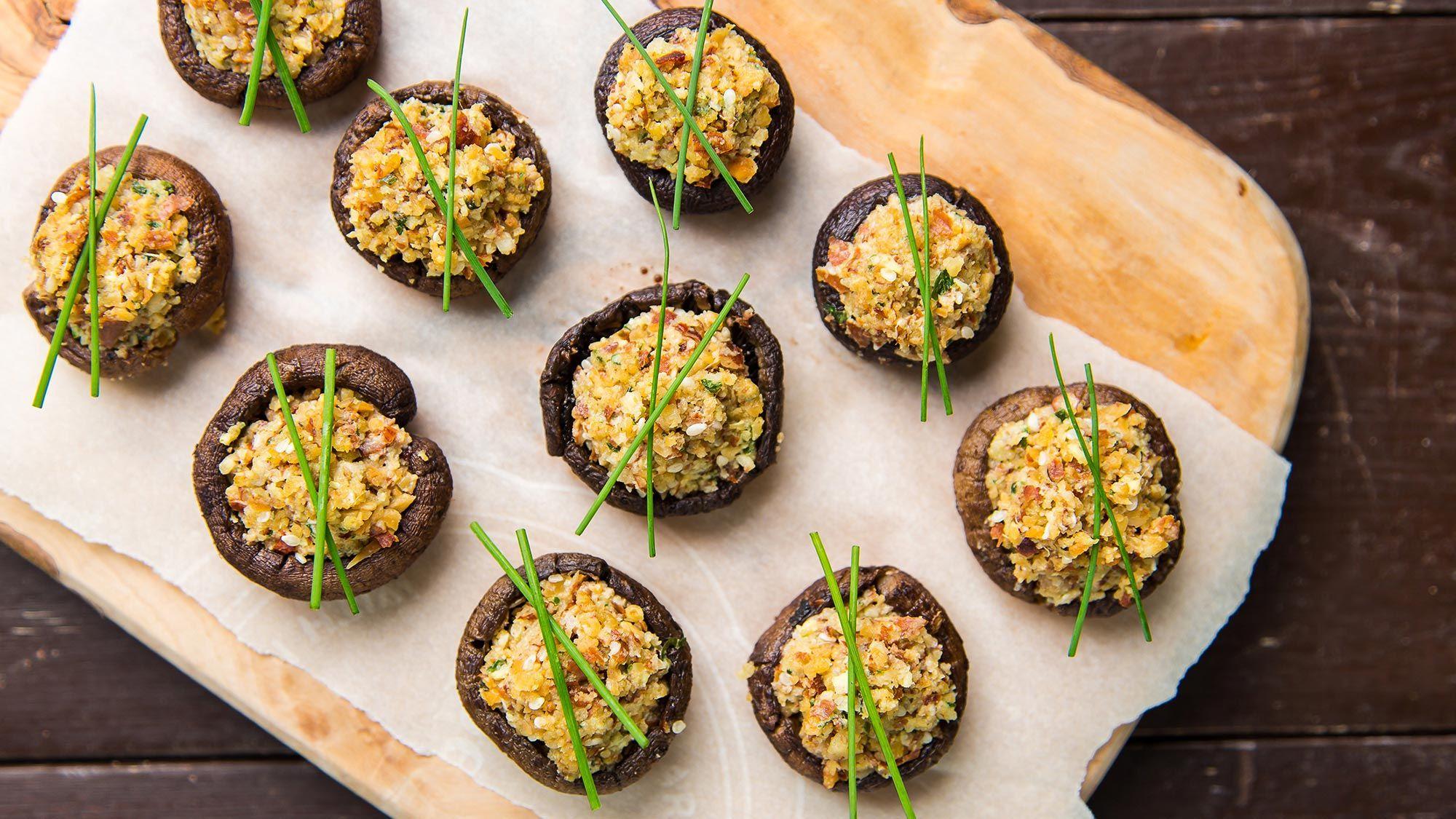 Asian Stuffed Mushrooms Recipe Vegan Appetizers Vegan Side Dishes Appetizers