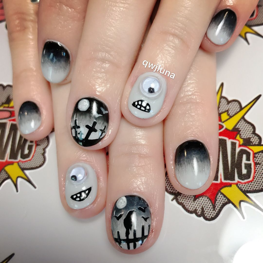 jiggly eyes #monsters #halloweennails for my sweet ...