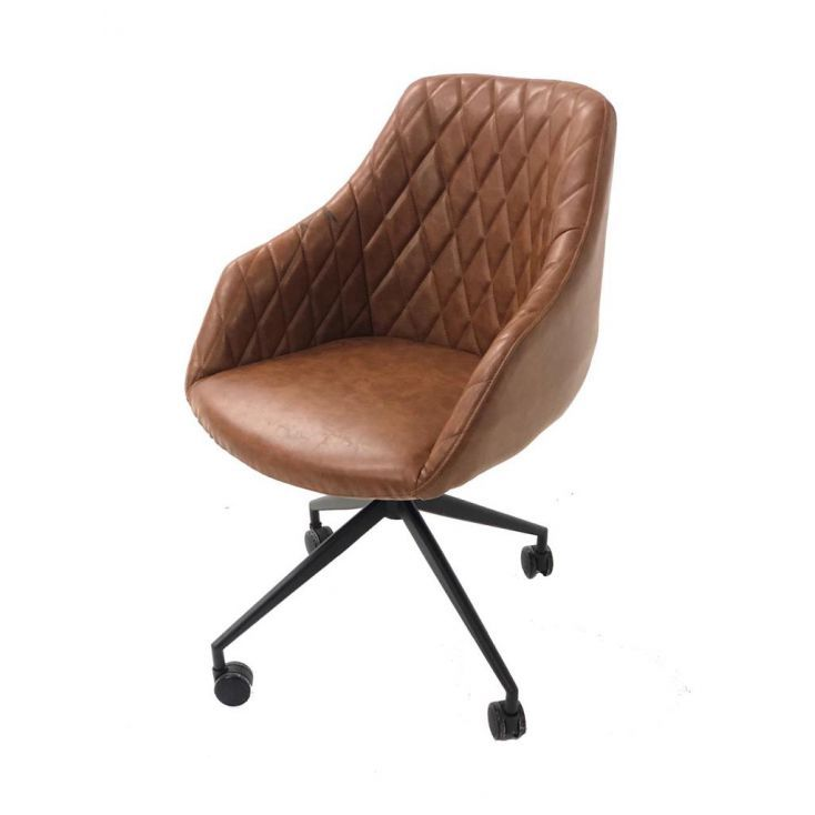 Vintage Style - Retro Tan Brown Black Leather Office Chair High Back