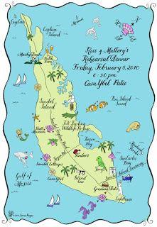 Sanibel Island Map A Custom Sticker Wedding Sanibel Island