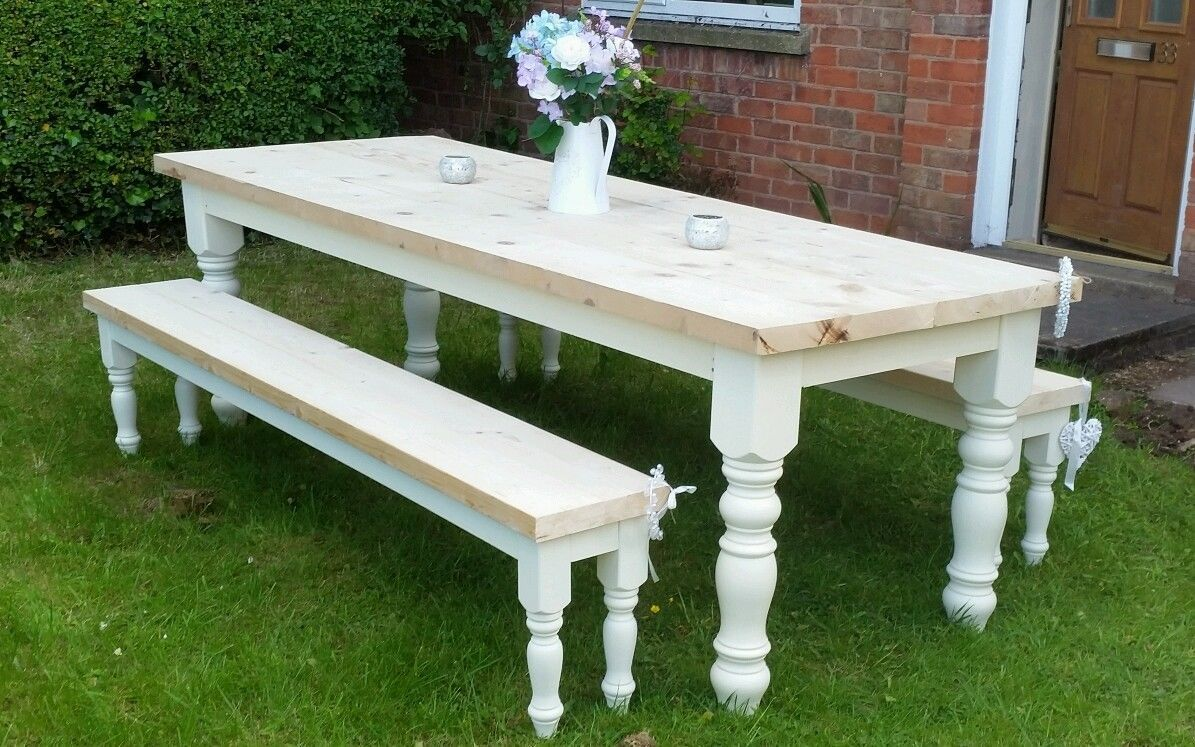 4ft 5ft 6ft 7ft 8ft Solid Pine Shabby Chic Farmhouse Dining Table Benches