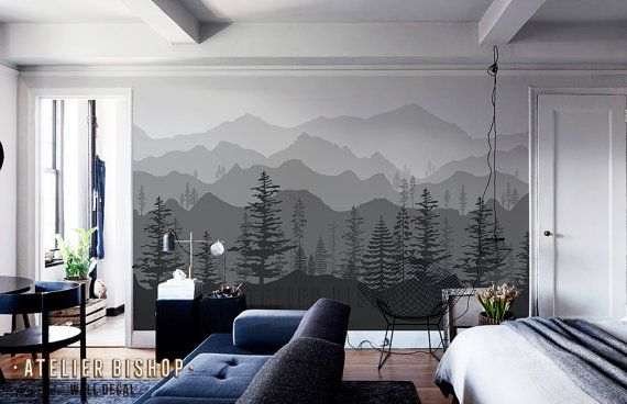Peel And Stick Ombre Mountain Pine Trees Forest Scenery Nature Etsy In 2021 Tree Wallpaper Ombre Mountains Forest Scenery