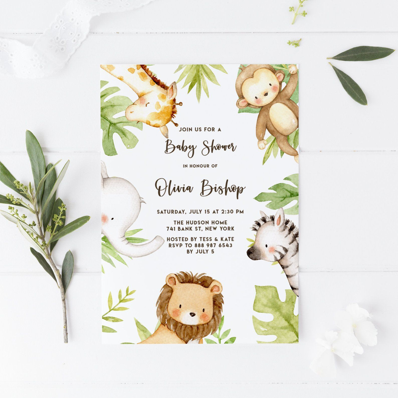 Printable Safari Baby Shower Invitation Template Editable Cute
