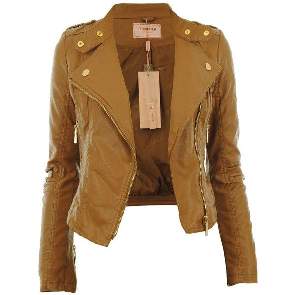 Diana New Womens Faux Leather Biker Gold Button Zip Crop Ladies Jacket... ❤ liked on Polyvore featuring outerwear, jackets, coats, shirts, tops, vegan biker jacket, synthetic leather jacket, fake leather jacket, cropped faux leather jacket and vegan leather jacket