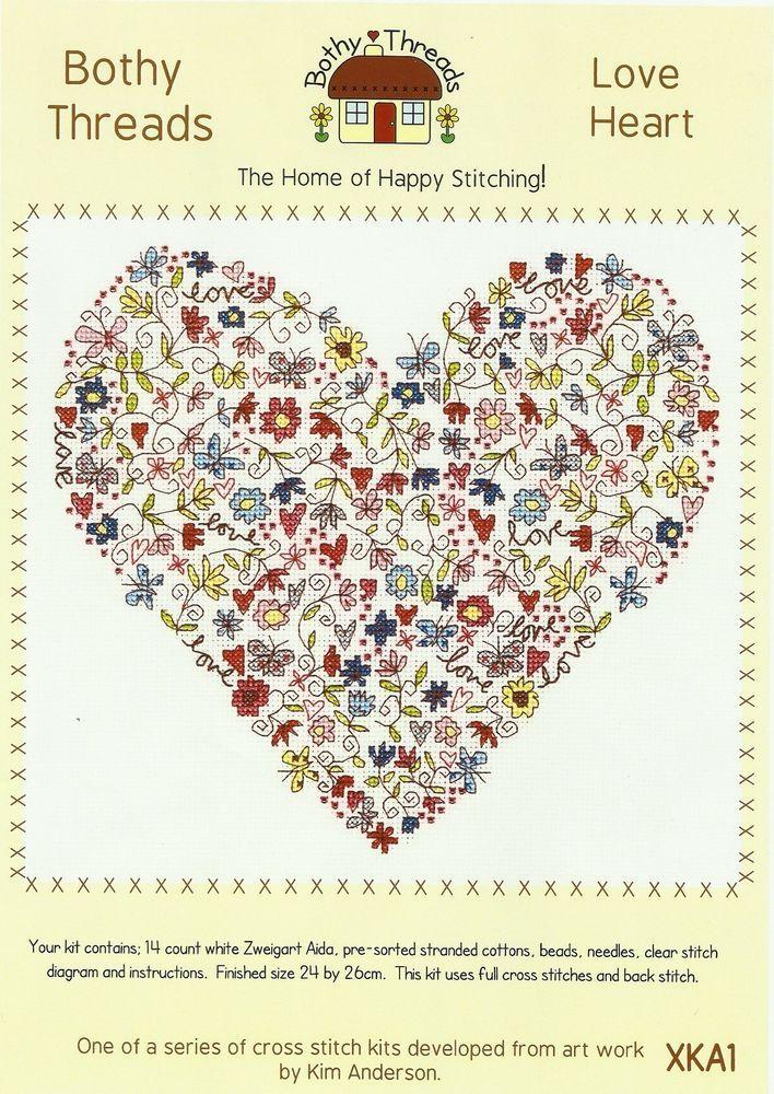 BOTHY THREADS LOVE HEART COUNTED CROSS STITCH KIT 24x26cm DESIGN XKA1 NEW