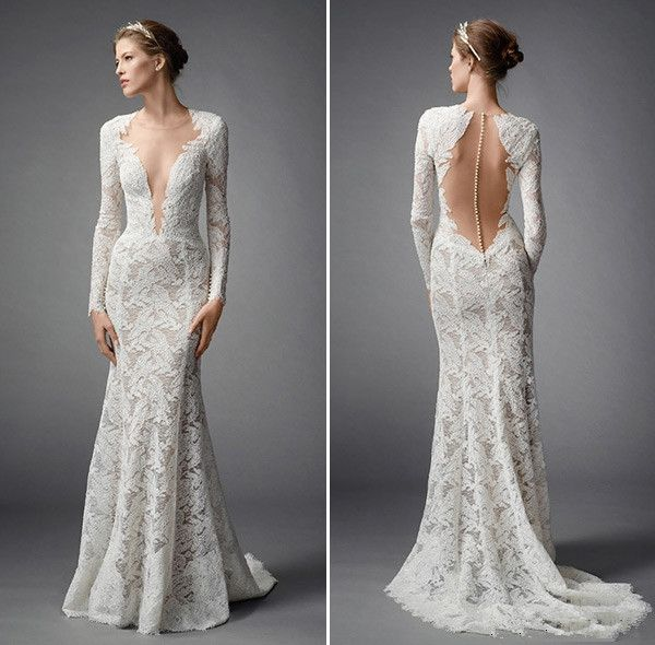 Vintage long sleeves v neck lace backless wedding dress for Vintage backless wedding dresses