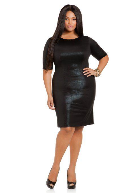 f623abeb78551 Amazon.com  Ashley Stewart Women s Plus Size Textured Faux Leather Dress   Clothing