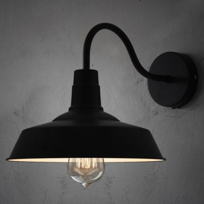 Black Barn Shade Wall Light With Gooseneck Arm For Stairs Pathway Farmhouse Black Wall Lights Farmhouse Wall Sconces Black Wall Sconce