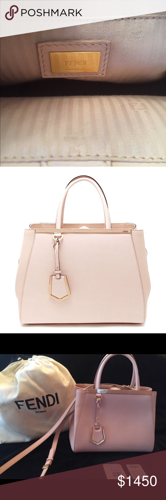 Fendi 2Jours Petite Rosa Handbag Authentic Fendi 2Jours Petite Rosa is the  perfect day to night bag. It is a beautiful soft pink color with gold  accents. 77b59bfb5a