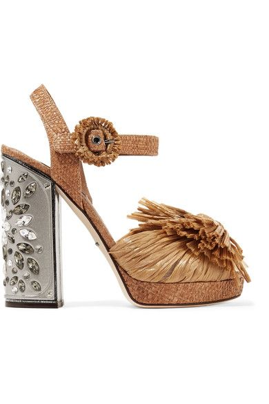 882d78a3c3b3 Dolce   Gabbana - Embellished Raffia Platform Sandals - Light brown ...