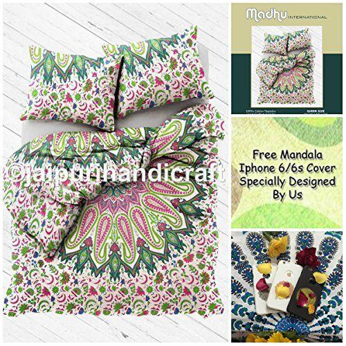 "Exclusive BOHO DUVET COVER WITH PILLOWCASES By ""MADHU INTERNATIONAL, Mandala qu cover, Boho duvet cover, doona cover, bohemian bedspread cover, Free mandala i-Phone Cover Madhu International http://www.amazon.com/dp/B01CS77IIE/ref=cm_sw_r_pi_dp_6L.-wb1BXM00T"