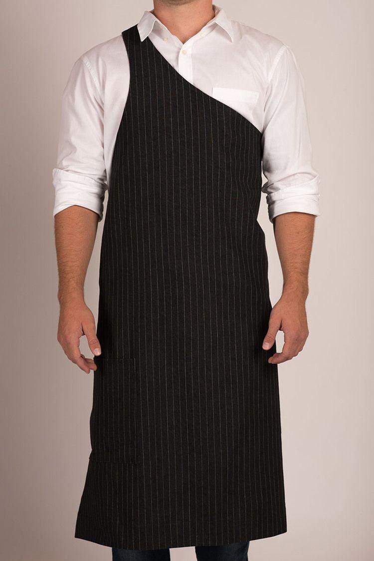 Butcher Apron Pinstripe Grey Or Pinstripe Black Robe Tablier