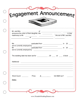newspaper wedding announcement templates