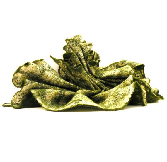 Felted scarf Forest  green  cobweb felted wool silk by AgnesFelt, $52.00