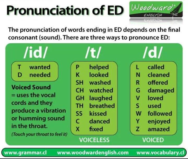 Pass Tense Pronunciations Grammatica Inglese Inglese Imparare