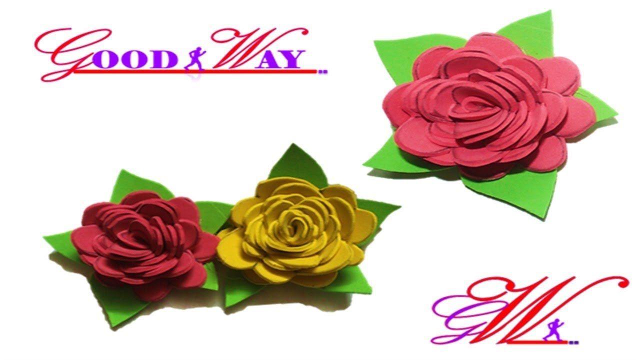 طريقة عمل وردة باستخدام فلين الفوم 2 How To Make Flower Foam Paper Hand Art Crafts Diy And Crafts