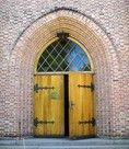 Door to church in Asker, Norway