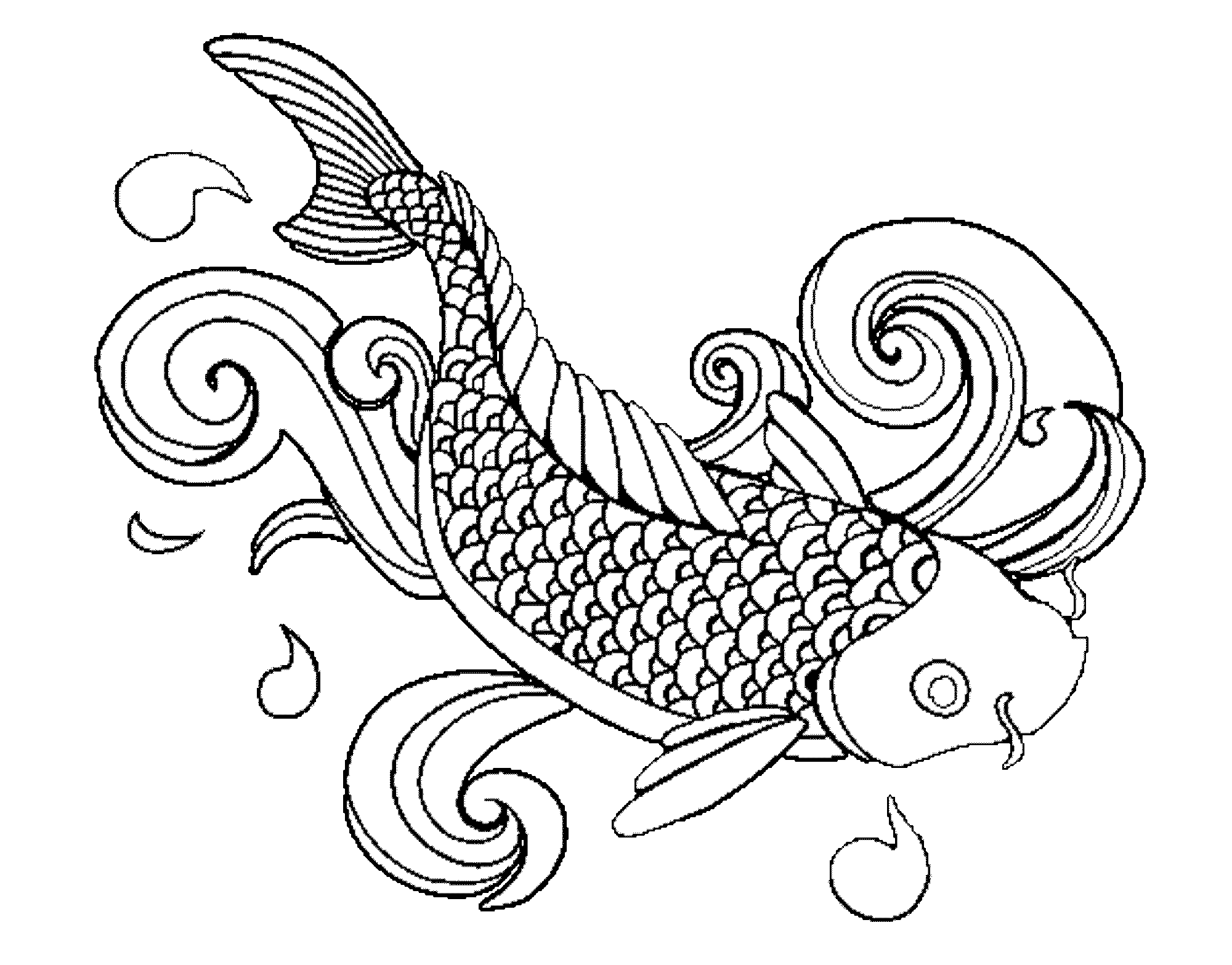 Coloring page fish printable kids colouring pages for Adult fish coloring pages