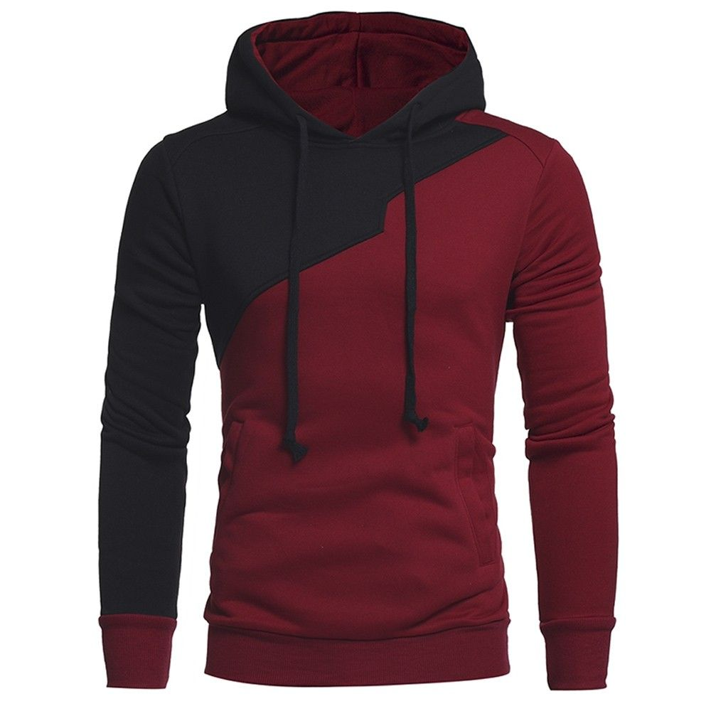 Drawstring Irregular Panel Fleece Hoodie Wine Red 3e35569513 Size M Hoodies Men Mens Sweatshirts Hoodie Sweatshirts Hoodie [ 1000 x 1000 Pixel ]