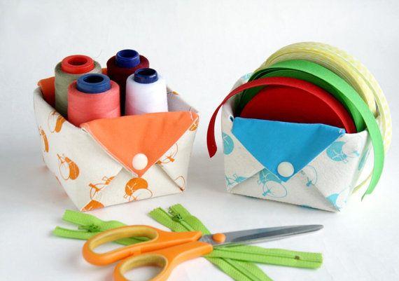 Fabric storage organizer basket Origami box organizer by Netamente