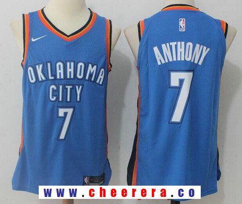 eb75fc85e268 Men s Oklahoma City Thunder  7 Carmelo Anthony New Royal Blue 2017-2018 Nike  Swingman Stitched NBA Jersey