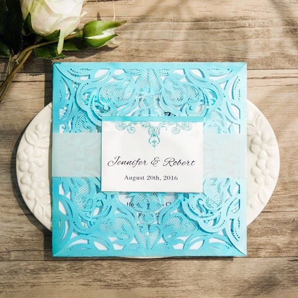 Tiffany Blue Swirl Laser Cut Wedding Invitation Kits EWWS115