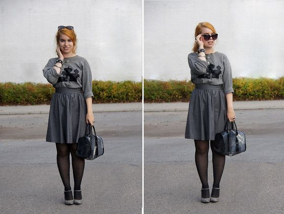 Get this look: http://lb.nu/look/5405020  More looks by Gittemary Johansen: http://lb.nu/gittemary  Items in this look:  H&M Plastic Bag, Thrifted Skirt, Nelly Mary Janes, Thrifted Jumper   #grey #trend #thrifted #thrift #shopping #high #heels #love #fall