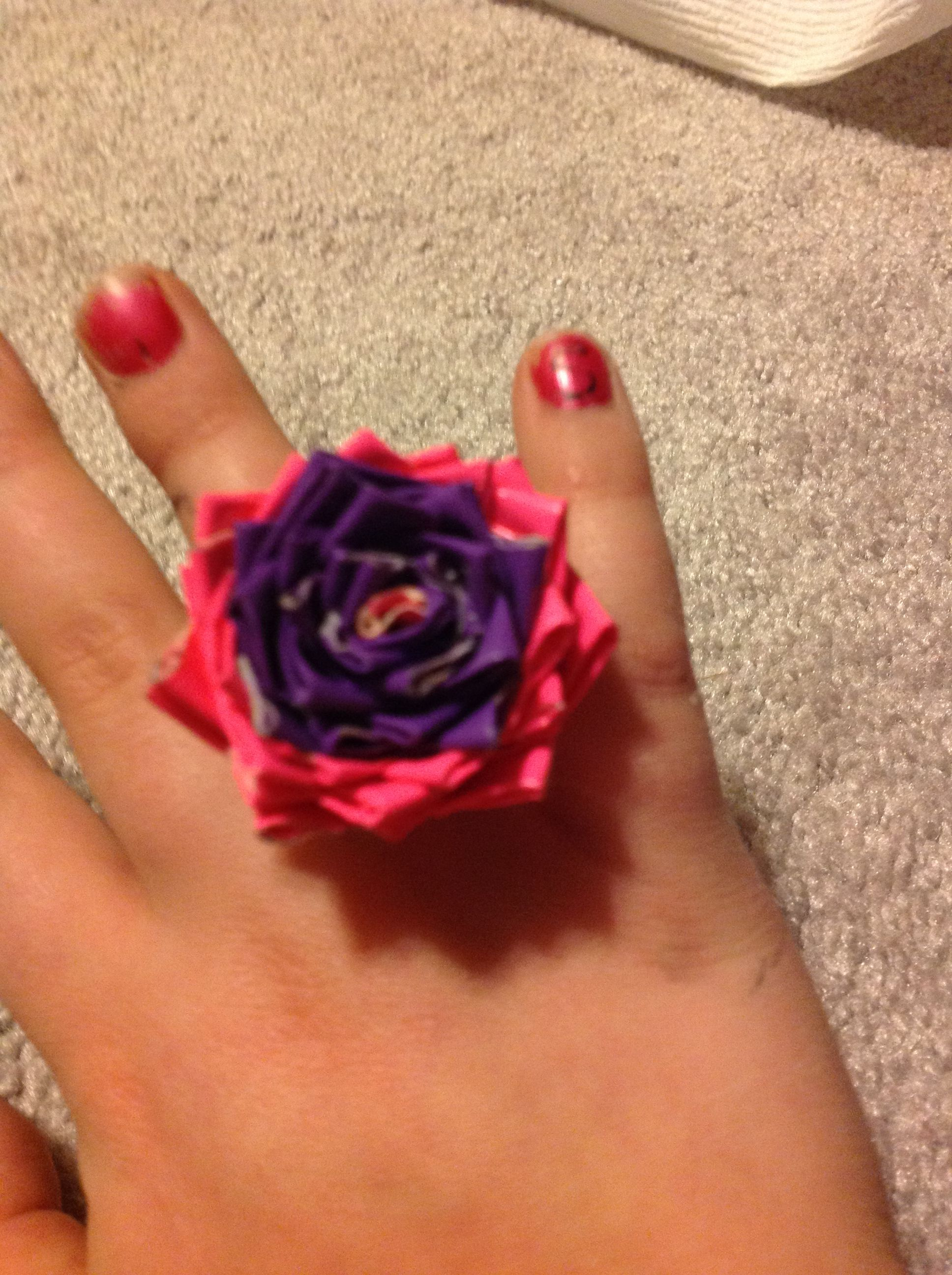 Flower ductape ring..!!