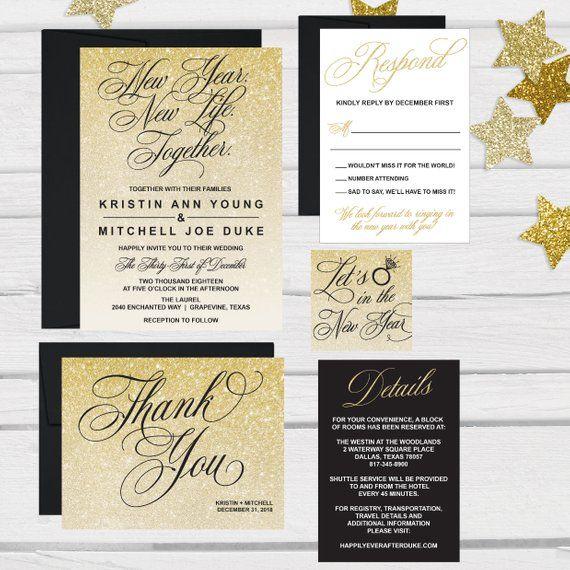 Elegant New Years Eve Wedding Invitation Template, Glitter Sparkly