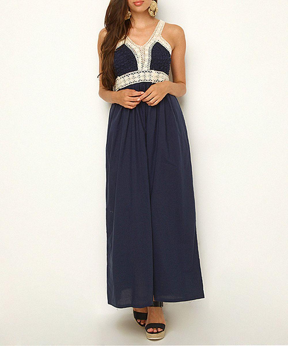 Navy blue crochet maxi dress zulily love the outfit