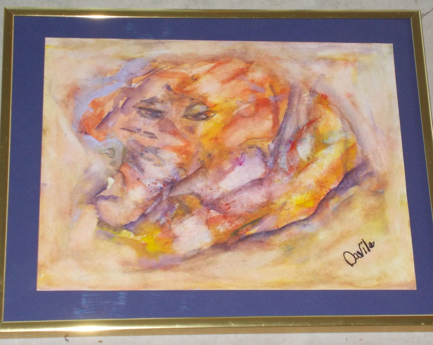 Original Sphinx - Elephant abstract watercolor painting signed and ...