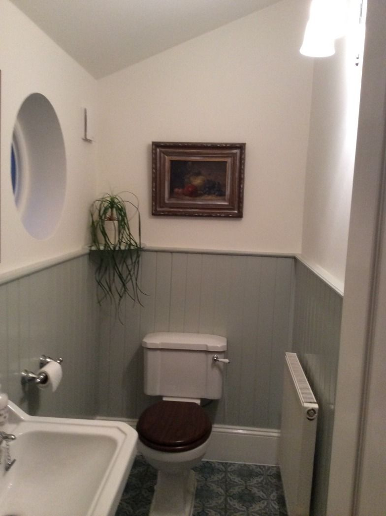 Grey Wood Paneling Small Toilet Room Traditional